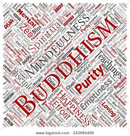 Conceptual buddhism, meditation, enlightenment, karma square red word cloud isolated background. Collage of mindfulness, reincarnation, nirvana, emptiness, bodhicitta, happiness concept