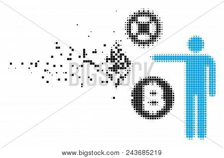 Fractured Person Show Cryptocurrency Dot Vector Icon With Erosion Effect. Rectangle Pieces Are Arran