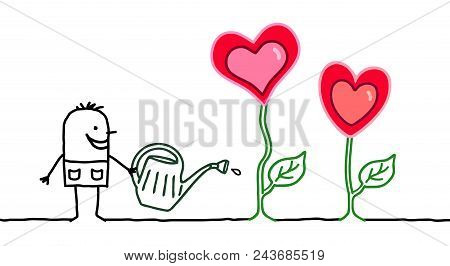 Happy Cartoon Gardener With Growing Hearts Illustration