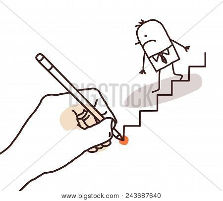 Drawing Big Hand - Cartoon Businessman Going Down Illustration