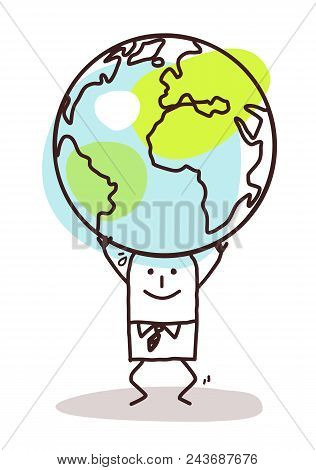 Cartoon Man Carrying The Earth On His Head Illustration