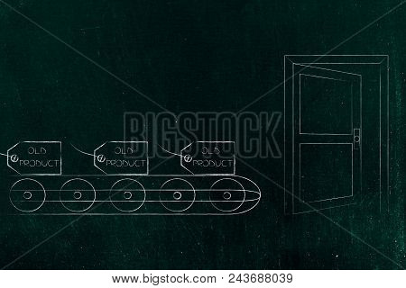 Mass-production Themed Conceptual Illustration: Price Tag With Old Product Text On Production Line A