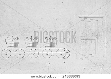 Mass-production Themed Conceptual Illustration: Shopping Basket On Production Line About To Be Relea