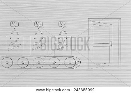 Mass-production Themed Conceptual Illustration: Shopping Bag With Your Product On Production Line Ab