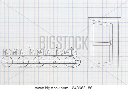 Mass-production Themed Conceptual Illustration: Innovation Text On Production Line About To Be Relea