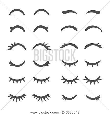 Pretty Woman Eyelashes. Closed Eyes For Cute Cartoon Sleeping Girl. Lash Female, Pretty Woman Lashes