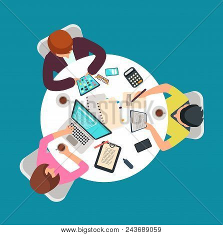 Top View People Group Work At Table. Meeting Persons In Room Vector Illustration. Business Team In O