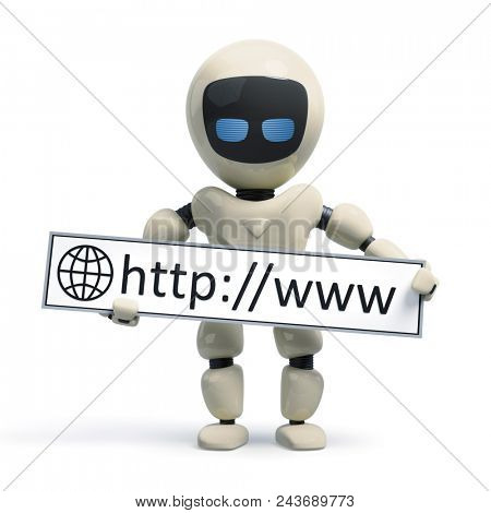 3d illustration of a robot with internet sign