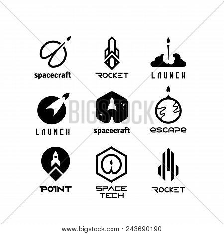 Space Flying Rockets, Launching Shuttles, Spaceship, Aviation Vector Logos Isolated. Space Ship Ands