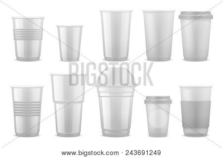 Empty Clear White Plastic Disposable Cups, Takeaway Containers For Cold Beverage, Soda, Tea And Coff