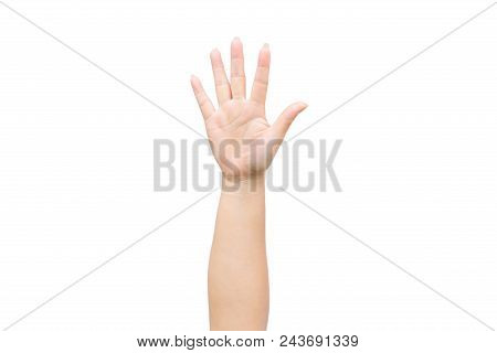 Woman Raise Hand Up Showing The Five Fingers On White Background