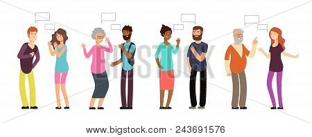 Chatting Persons. People Group In Conversation. Men And Women Discussing With Thinking Bubble. Vecto