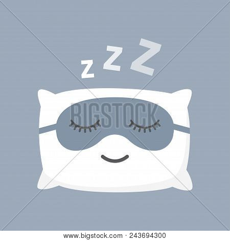 Sleeping White Pillow, Blindfold, Isolated On Blue Background. Cushion And Black Mask For Comfortabl