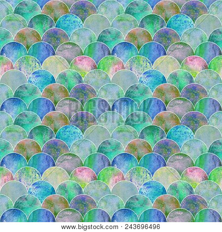 Mermaid Scale Ocean Wave Japanese Seamless Pattern. Watercolor Hand Drawn Blue Teal Colorful Texture