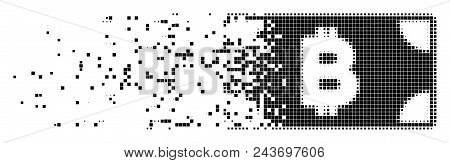 Dispersed Bitcoin Cash Banknote Dotted Vector Icon With Erosion Effect. Square Dots Are Grouped Into