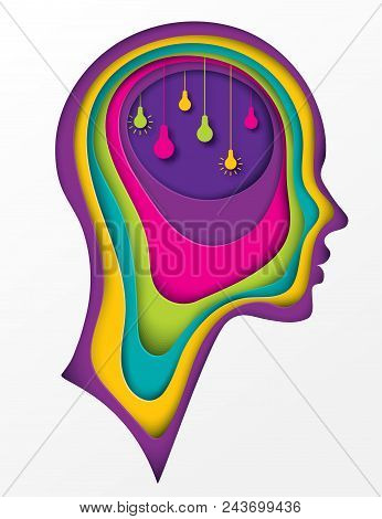 Modern Poster With Layered Cut Out Colored Paper Human Profile With Lightbulb In The Brain. Creative