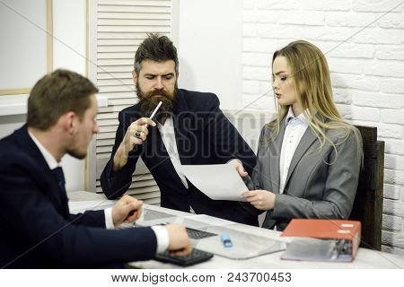 Business Negotiations, Discuss Working Tasks. Lady Manager Tries To Organize Working Process With Co