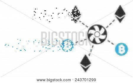 Dispersed Cryptocurrency Blender Rotor Dotted Vector Icon With Erosion Effect. Rectangle Dots Are Gr