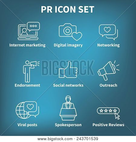 Brand Ambassador And Spokesperson Icon Set W Networking, Social, And Bullhorn Images