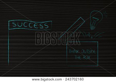 Think Outside The Box Conceptual Illustration: Success Banner Next To Open Box With Lightbulb Poppin