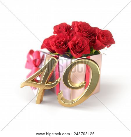Birthday Concept With Red Roses In Gift Isolated On White Background. 3d Render - Forty-nineth. 49th