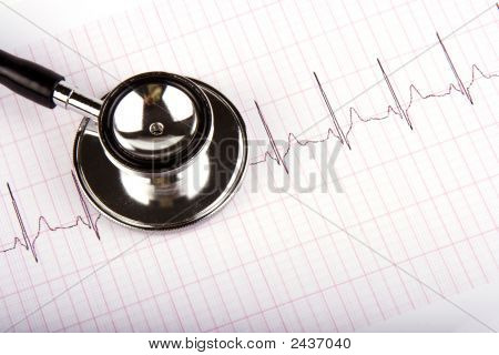 Stethoscope Over A Electrocardiogram
