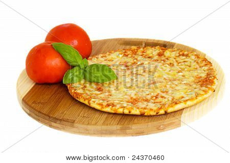 pizaa quatrro fromaggi (four cheese) with fresh tomatoes poster