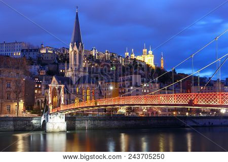 Panoramic View Of Saint Georges Church And Footbridge Across Saone River, Old Town With Fourviere Ca