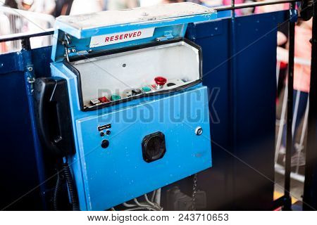 The Control Panel Of The Old Funicular Tramway. Old Blue Vintage Tram Controlling System Point. The