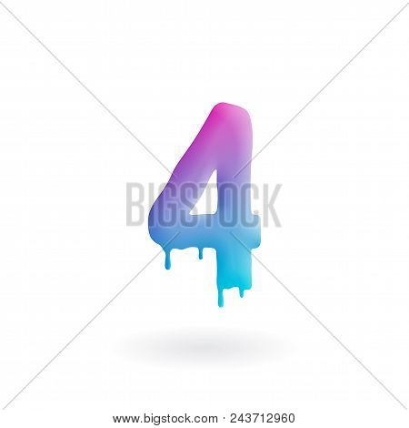 Number 4 Logo. Colored Paint Four Icon With Drips. Dripping Liquid Symbol. Isolated Art Concept Vect