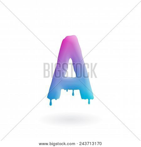 Letter A Logo. Colored Paint Character With Drips. Dripping Liquid Symbol. Isolated Vector