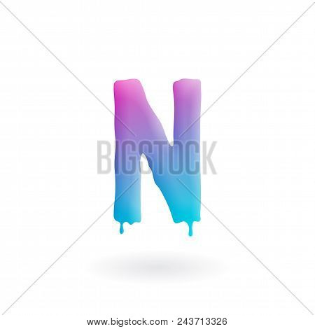 Letter N Logo. Colored Paint Character With Drips. Dripping Liquid Symbol. Isolated Vector