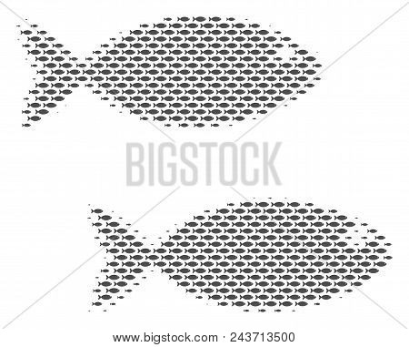 Fish Fish Pair Halftone Collage. Vector Fish Pictograms Are Formed Into Fish Pair Collage.