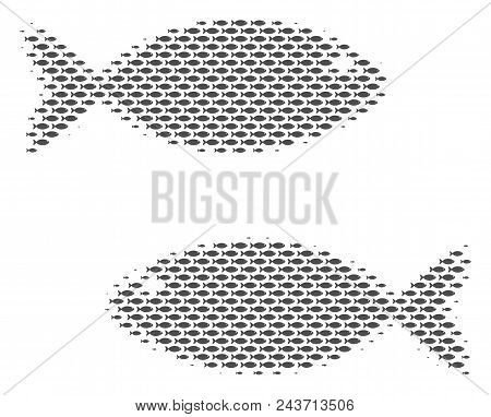 Fish Fish Pair Halftone Collage. Vector Fish Pictograms Are Arranged Into Fish Pair Composition.