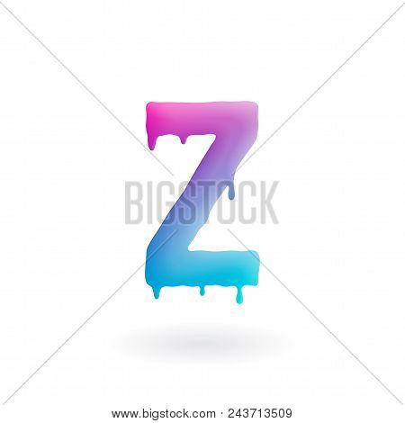 Letter Z Logo. Colored Paint Character With Drips. Dripping Liquid Symbol. Isolated Vector