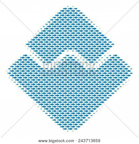 Fish Waves Currency Halftone Mosaic. Vector Fish Items Are United Into Waves Currency Collage.