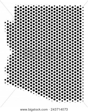 Hex-tile Arizona State Map. Vector Halftone Territory Plan On A White Background. Abstract Arizona S