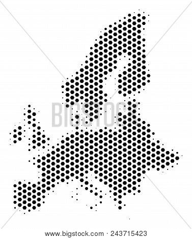Hex Pixel European Union Map. Vector Halftone Territory Plan On A White Background. Abstract Europea