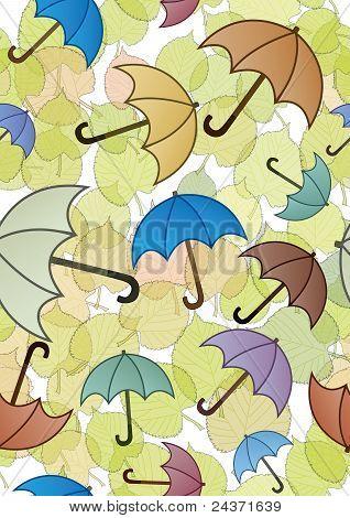 Autumn leaves and umbrellas