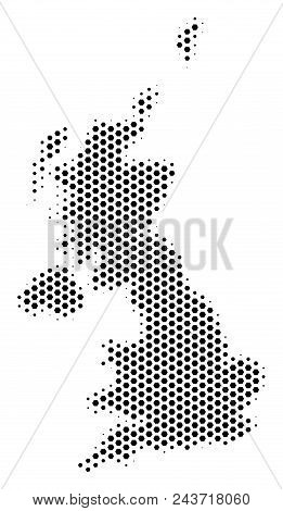 Hexagon United Kingdom Map. Vector Halftone Territory Plan On A White Background. Abstract United Ki