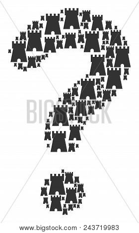 Answer Mosaic Composed From Bulwark Tower Components. Vector Bulwark Tower Icons Are Arranged Into S