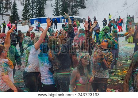 Sheregesh, Kemerovo Region, Russia - April 14, 2018: Grelka Fest Is A Sports And Entertainment Activ