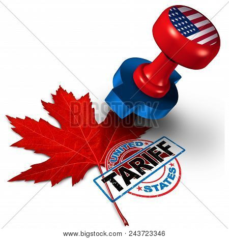 Canada United States Tariff On Canadian Steel And Aluminum Tariffs As A Stamp On A Maple Leaf As An