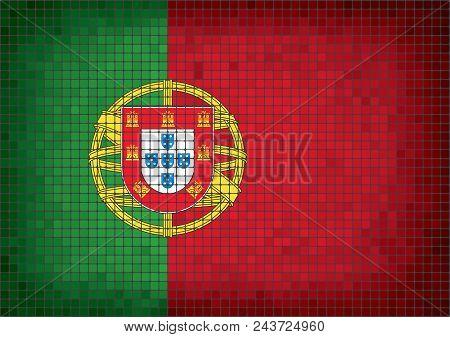 Portugalin Grunge Mosaic Flag, The National Flag Of Portugal, Abstract Grunge Mosaic Vector.