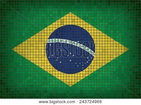 Brazilian Grunge Mosaic Flag, The National Flag Of Brazil, Abstract Grunge Mosaic Vector.