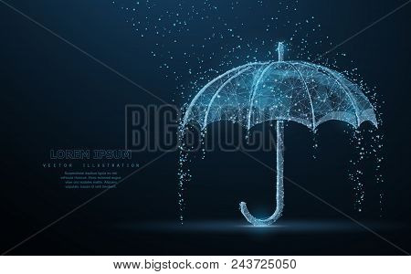 161302c4000e6 Vector umbrella rain protection. Abstract wire low poy umbrella cover in  rain illustration on dark blue background with water fall drops.