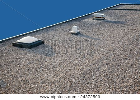 Inverted roof with chimney and skylight and gravel top poster