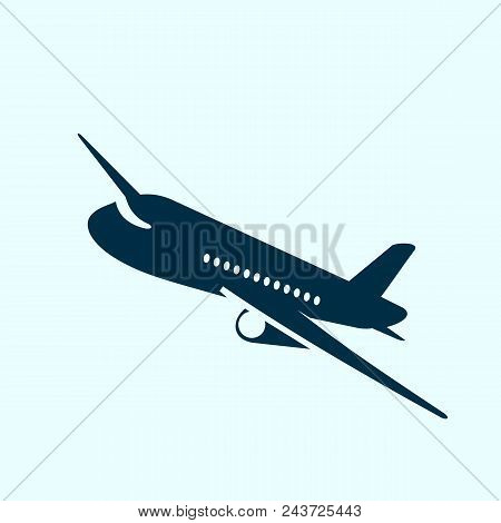 Aeroplane Icon Vector Illustration. Airplane Flight Travel Symbol. Flat Plane View Of A Flying Aircr