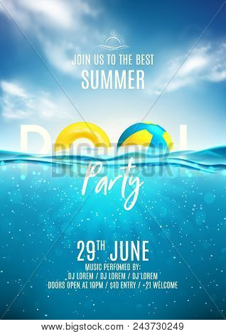 Summer Pool Party Poster Template. Vector Illustration With Deep Underwater Ocean Scene. Background