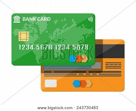 Bank Card, Credit Card Template. World Map On Blue Background. Modern Payment System With Chip And C